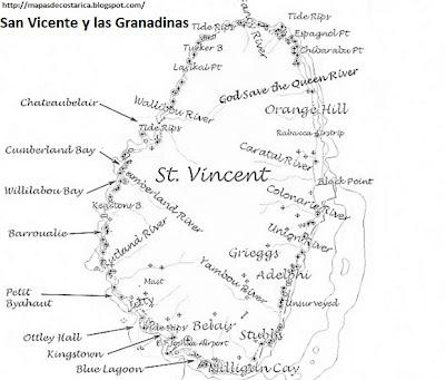 Mapa mudo, para pintar de San Vicente y las Granadinas