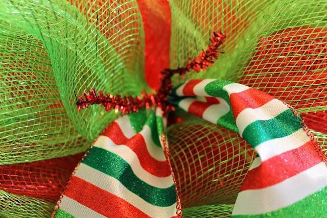 add ribbon to deco mesh wreath