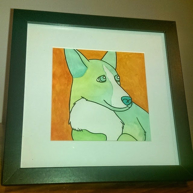 Green corgi painted in acrylic paint on an orange background.