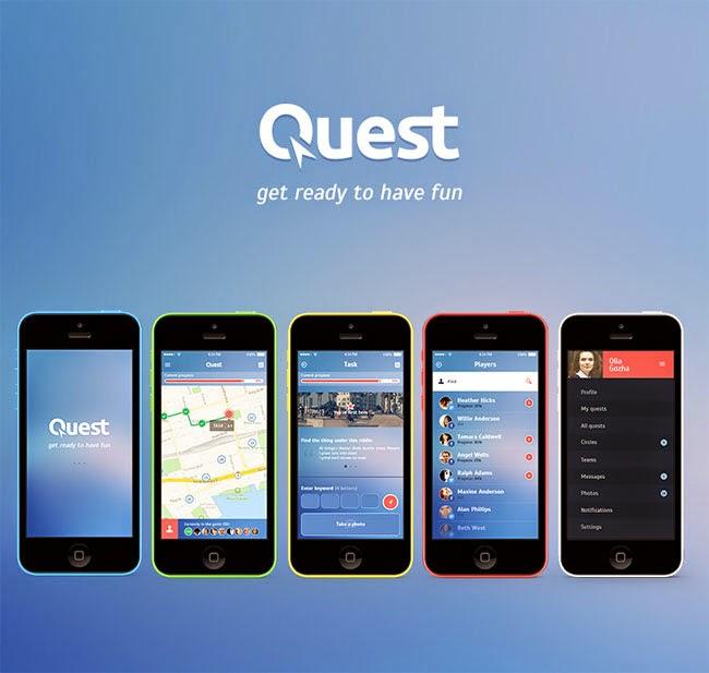 Quest App Screens UI PSD for IOS 7