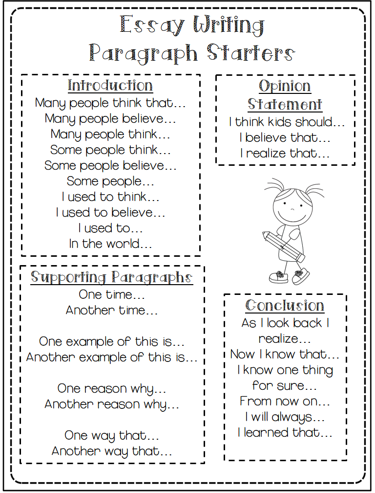 example sentence starters for essays