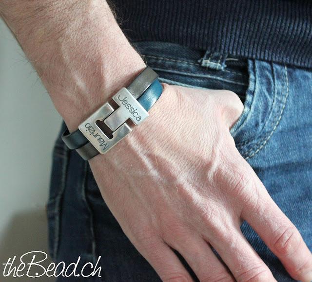Herren Gravur Armband in Blau Taupe in verschiedenen Farben