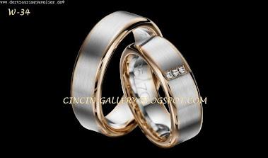 cincin kawin emas putih masing-masing 5 grm  + diamond  0,02  3 ct
