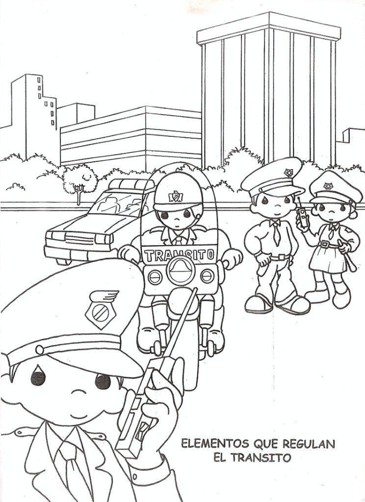 Policias De Tr  Nsito Para Colorear