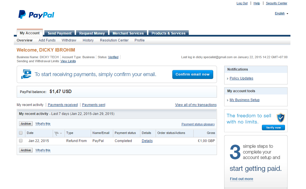 Cara Verifikasi Paypal Tanpa Kartu Kredit