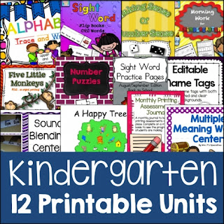 65% Off Kindergarten Printable Units
