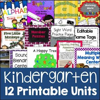 65% Off Kindergarten Printable Units