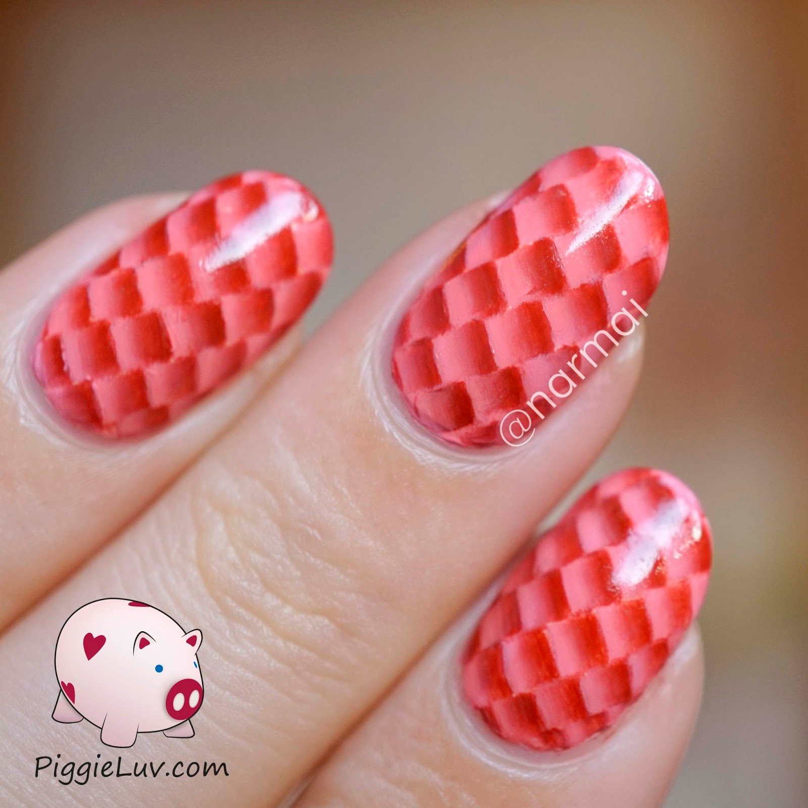Piggieluv red one stroke snake skin nail art this is so super easy all you have to do is load your brush like you would for the one stroke technique and then make little boxes all over the nail prinsesfo Gallery