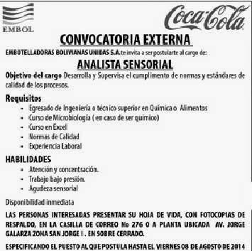 Embol Tarija convoca a ocupar el cargo de Analista Sensorial