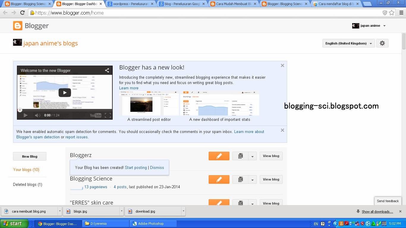 dashboard blogger dengan blog baru