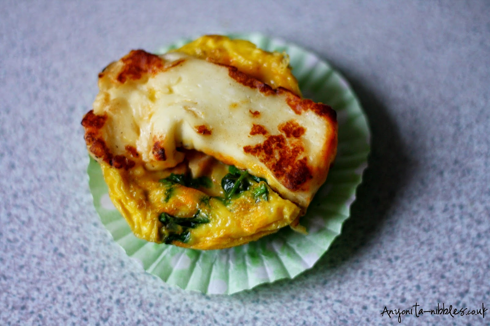 A frittata muffin with fried halloumi on top from Anyonita-nibbles.co.uk