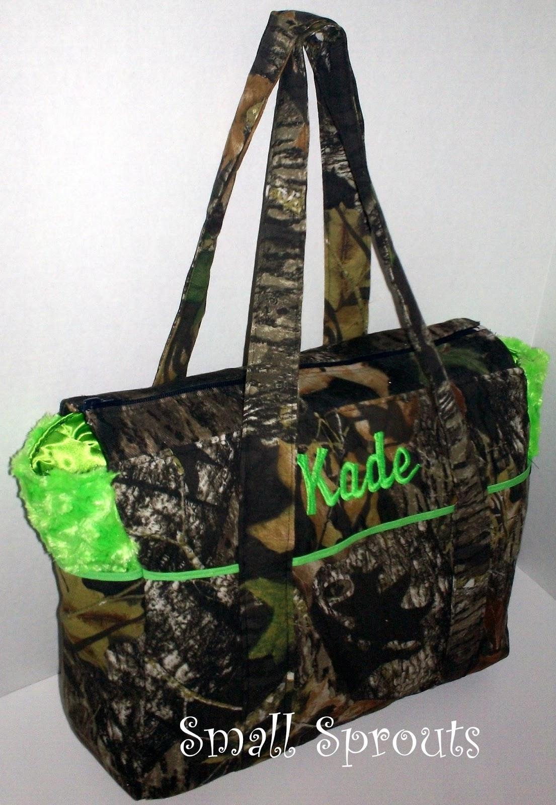 Small Sprouts: Mossy Oak Breakup Camo Lime Fancy Diaper Bag