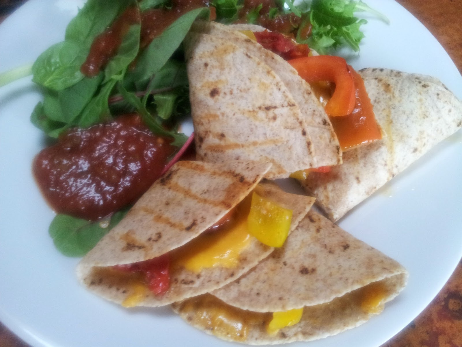 red or green?: grilled vegetable and cheese quesadillas