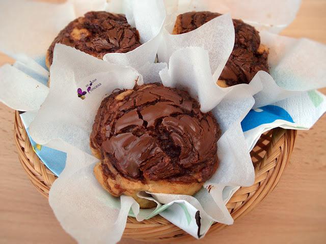 chocolate, crema de cacao, muffin, plátano, plátano y chocolate, plátano y crema de cacao,