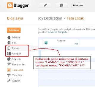 Menu Komentar di Dashboard Admin Blogspot Hilang!