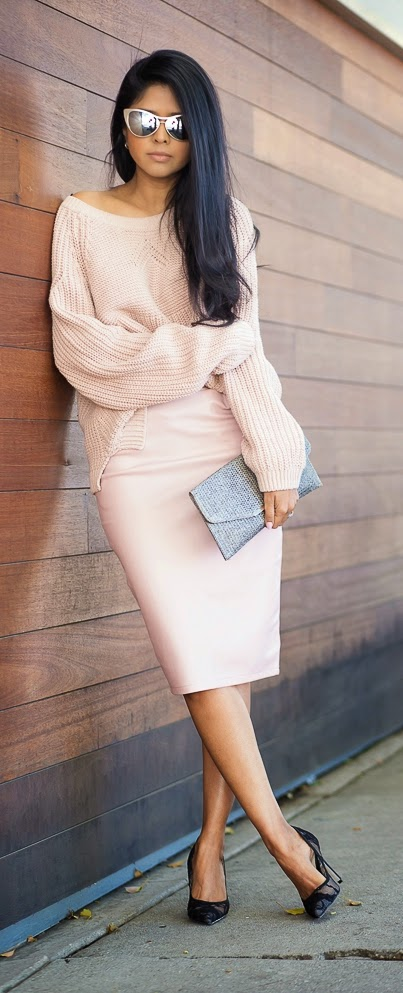 Pastel Pink Cableknit Sweater with Pink Pencil Skirt and Lace Pumps | Spring Outfits