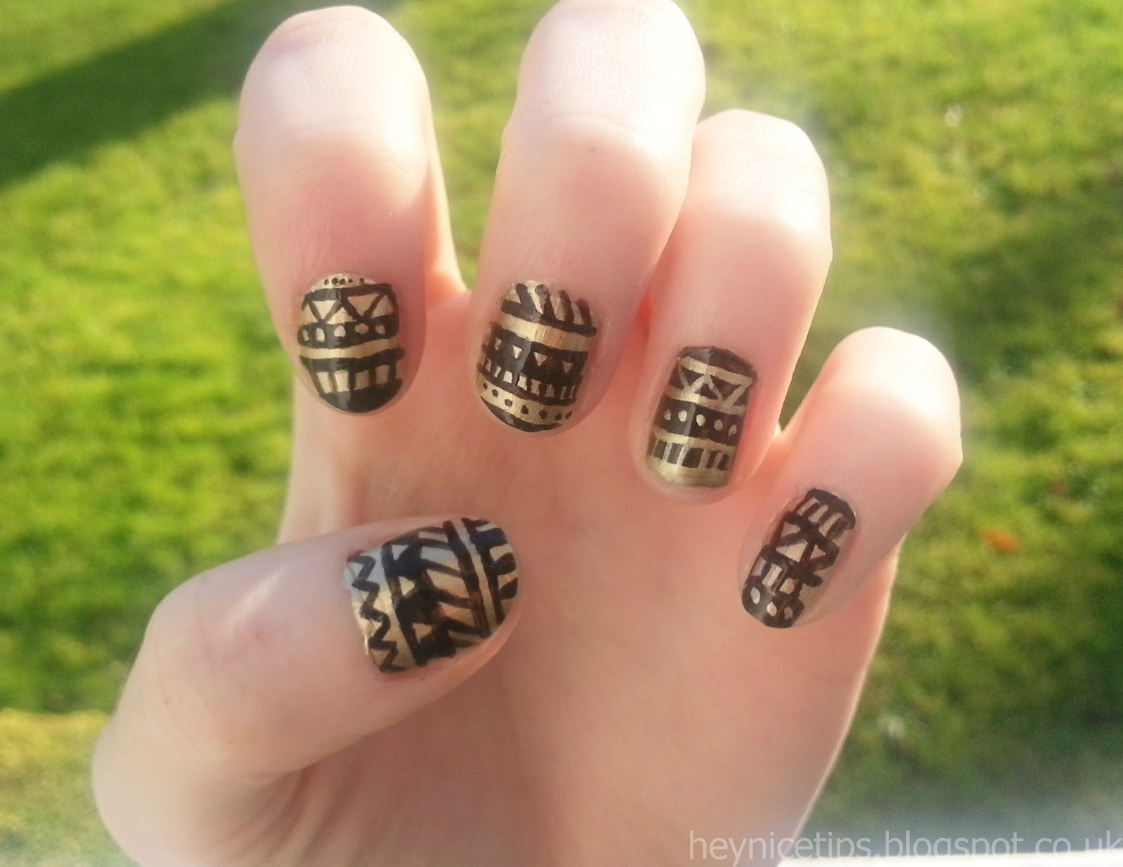 Hey nice tips black gold aztec nails black gold aztec nails prinsesfo Images