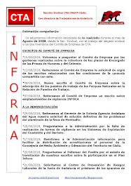 C.T.A. INFORMA, LO REALIZADO EN AGOSTO DE 2018