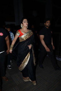 Charmee Kaur in Black saree at Jyothilakshmi audio release function
