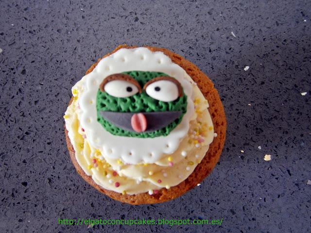 cupcake Barrio Sésamo Oscar