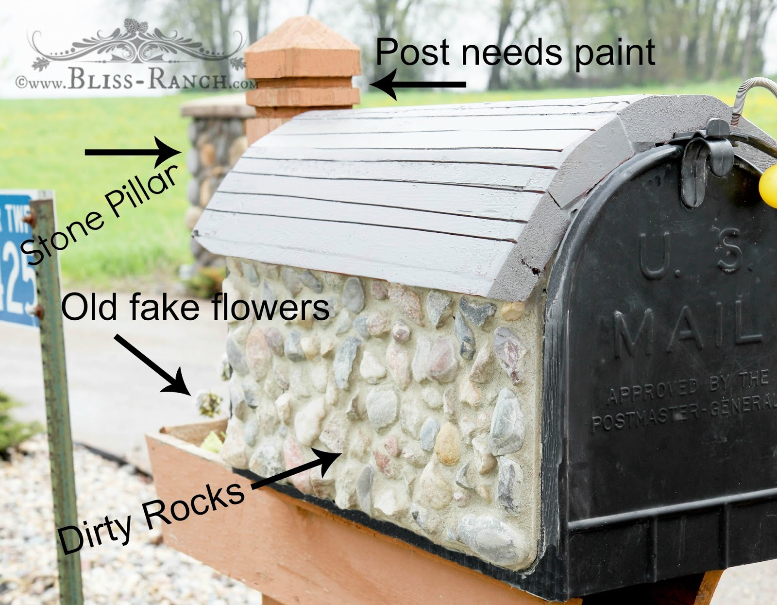 Mailbox Makeover Bliss-Ranch.com #mailboxmakeover