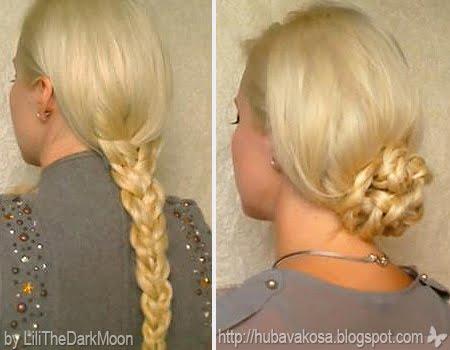 обемна плитка и нисък кок - лесни прически за дълга коса