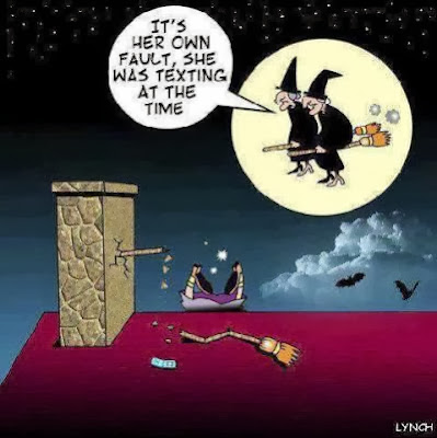 Funny witch accident texting while flying cartoon joke picture