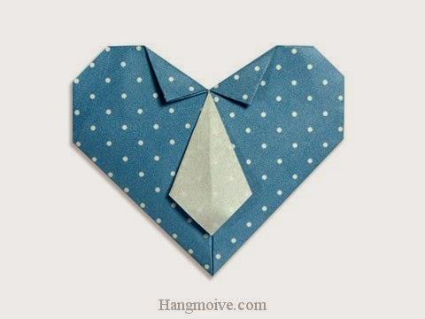 Cách gấp, xếp trái tim thắt caravat bằng giấy origami - Video hướng dẫn xếp hình trái tim quà tặng - How to fold a Necktie Heart