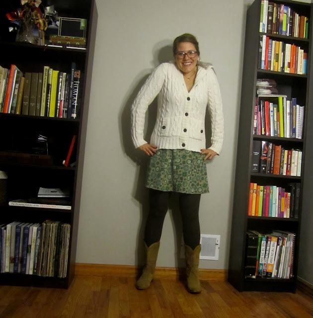 cowboy boots, gap boots, gap sweater, floral skirt