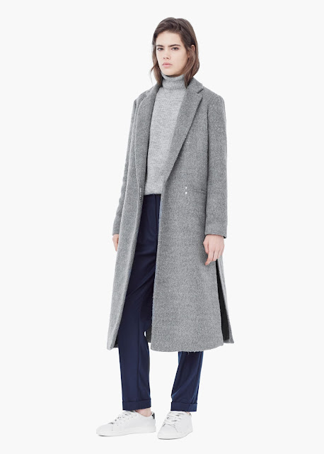 mango grey maxi coat, mango grey long coat, grey winter maxi coat,