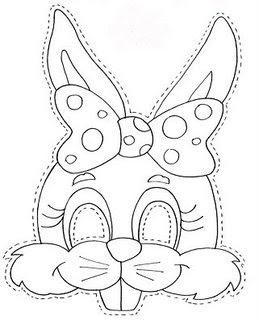 Máscaras de coelhinho para páscoa - moldes