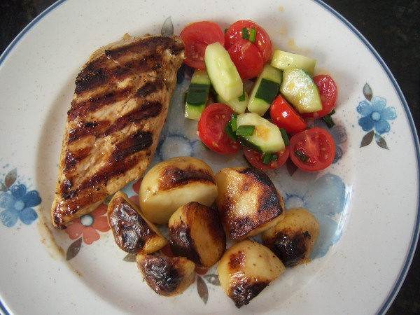 ... Greenery: Grilled Chicken and Potatoes with Tomato and Cucumber Salad