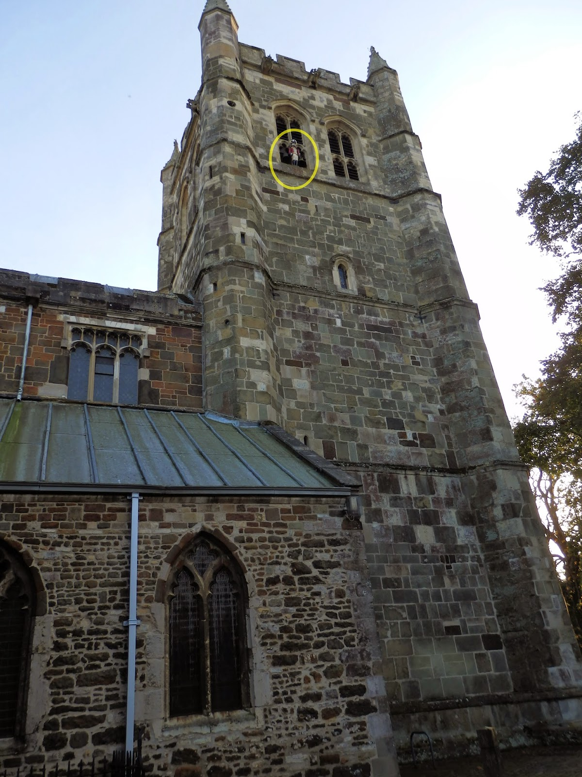 Tower at Wimborne church showing position of Quarter Jack