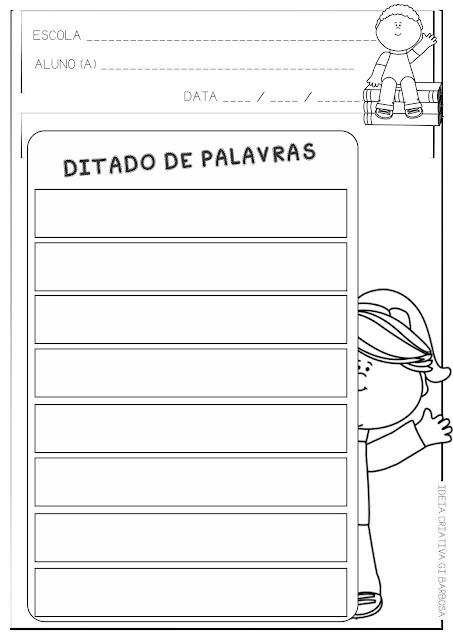 Ficha Ilustrada para Ditado de Palavras