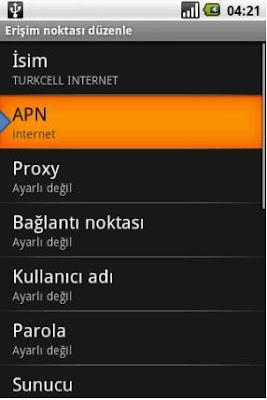 Turkcell APN Ayarları Android