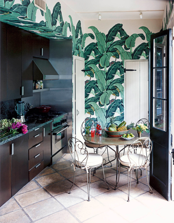 Nikki Hilton  Hollywood Home    via In Style  Banana Leaf Wallpaper Bathroom