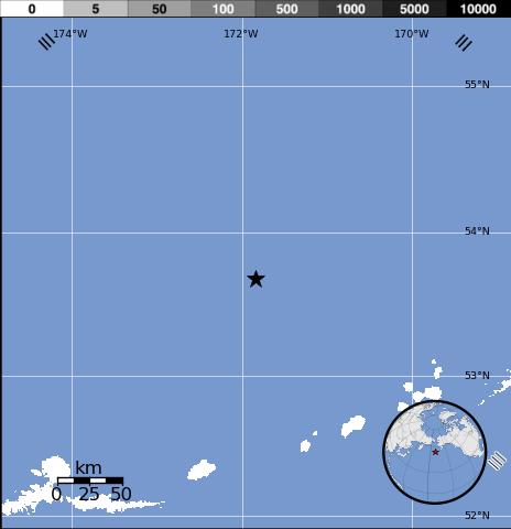 Epicentro sismo 6,1 grados en Alaska, 26 de Febrero 2014