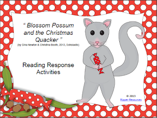 http://www.teacherspayteachers.com/Product/Australia-Blossom-Possum-and-the-Christmas-Quacker-Reading-Activities-979125