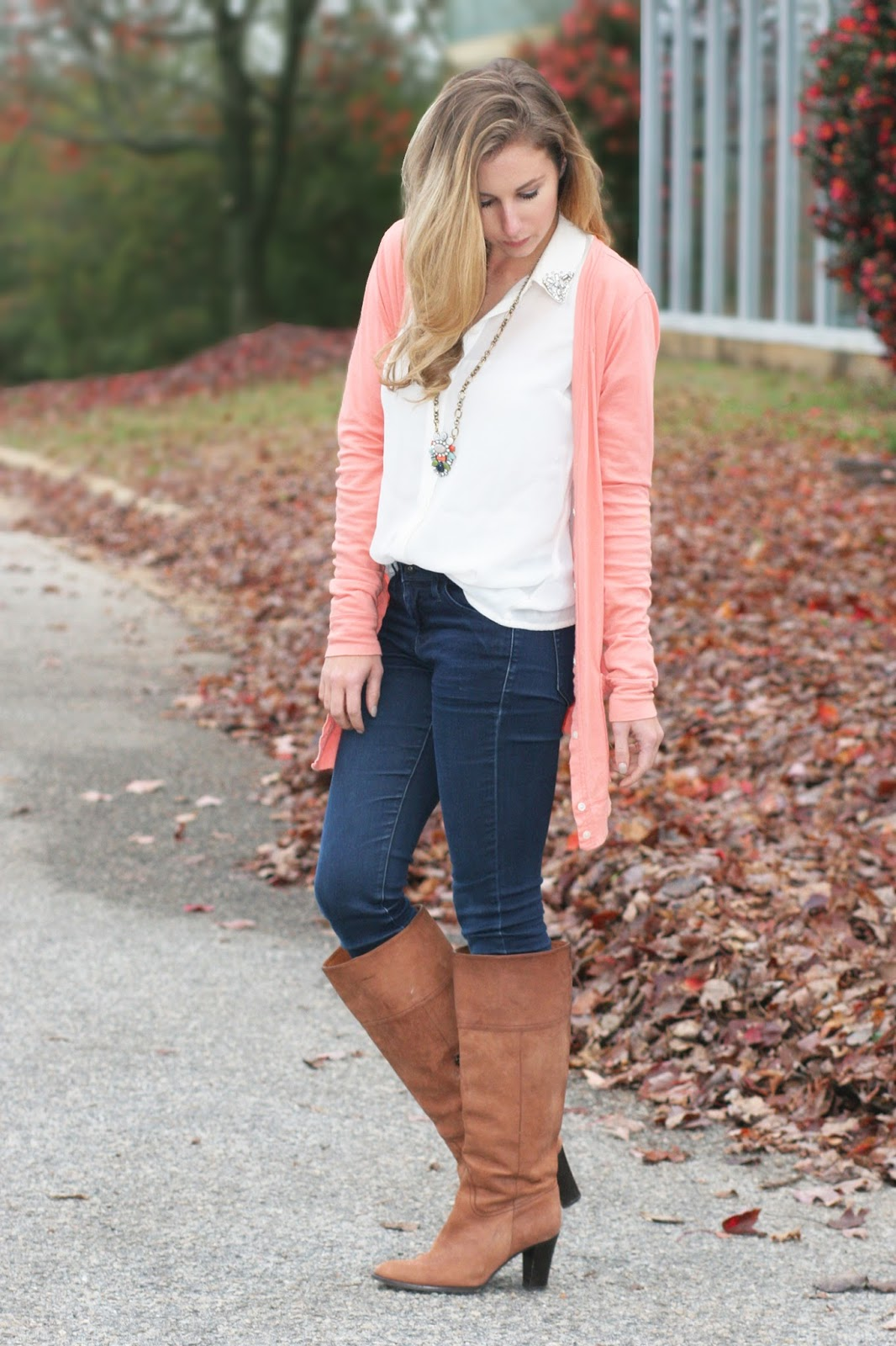 camel-riding-boots-a-statement-necklace-and-a-long-cardigan