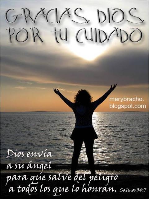 Postal cristiana.Imágenes de agradecimiento al Señor. Dios me protege y me cuida con sus ángeles. Acción de Gracias al Señor