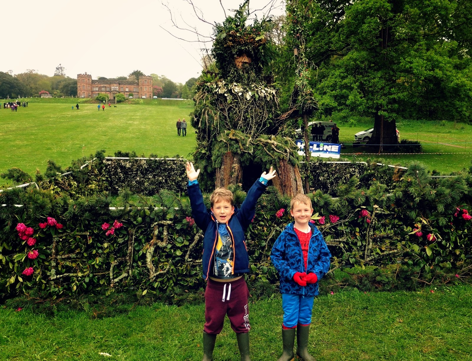 cornwall, spring, festival, rebirth, green man, mount edgcumbe, fun, plymouth, garden, trees, structure, statue,