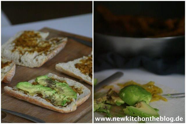 Essen und Rezepte für Arbeit und Büro: Ciabatta mit Saté-Spießchen und Avocadocreme