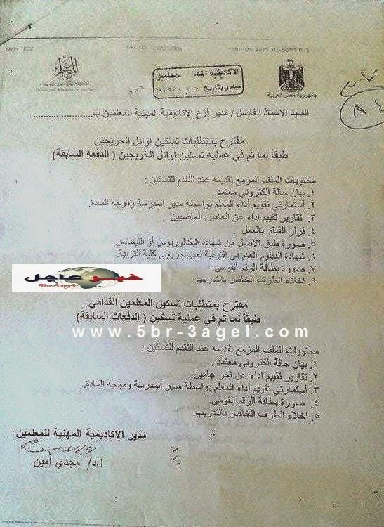 الاكاديمية للمديريات والاوراق المطلوبة للمعلمين القدامى واوائل الخريجين لـ 26 / 4 / 2015