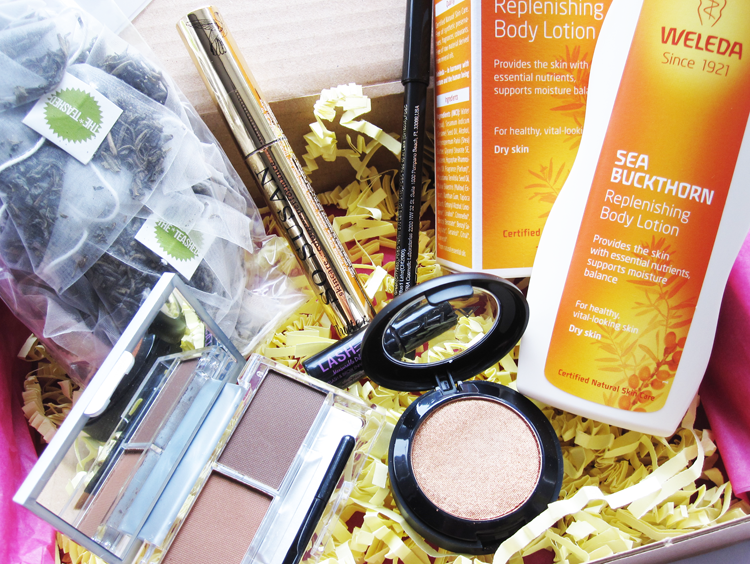 A picture of Love Me Beauty Box July 2014 with Lashem, OFRA, So Susan, Weleda and The Teashed