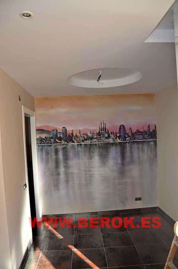 Mural skyline cuadro pintado en pared