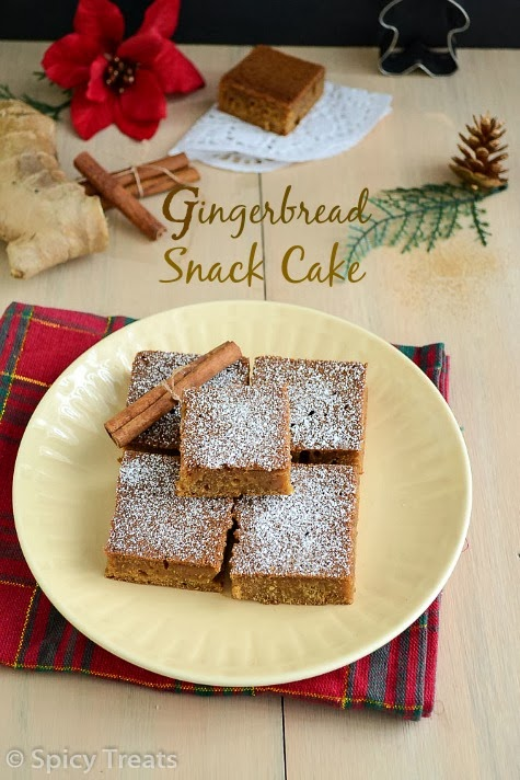 Gingerbread Snack Cake | Eggless Gingerbread Cake | Spiced Snack Cake ...