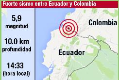 Fuerte sismo de magnitud 5,9 sacude la frontera entre Ecuador y Colombia