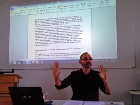 Prof. Tom Tillemans during his presentation at the Buddhist Translation workshop.