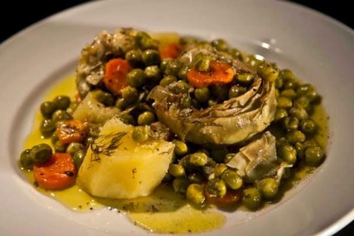 """Ala polita"" artichokes with peas, Chios recipe, Mediterranean Diet,"