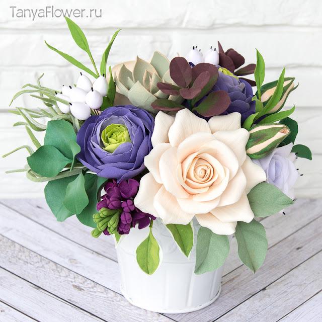 купить цветы из полимерной глины керамическая флористика